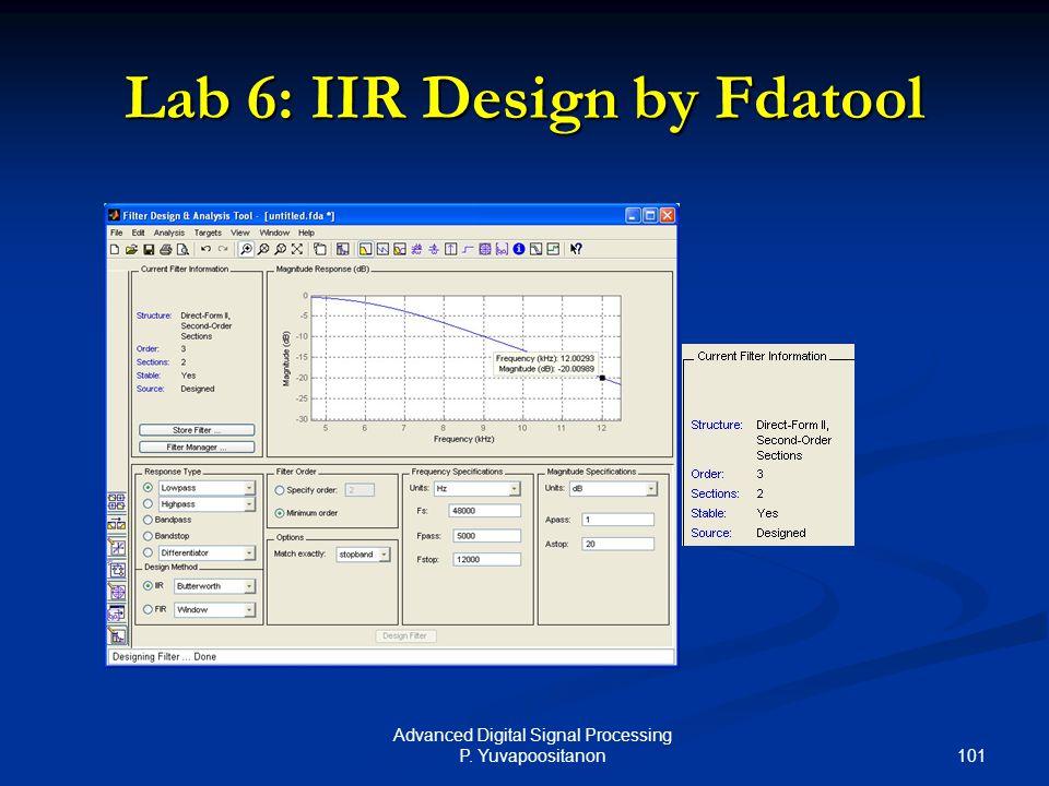 101 Advanced Digital Signal Processing P. Yuvapoositanon Lab 6: IIR Design by Fdatool