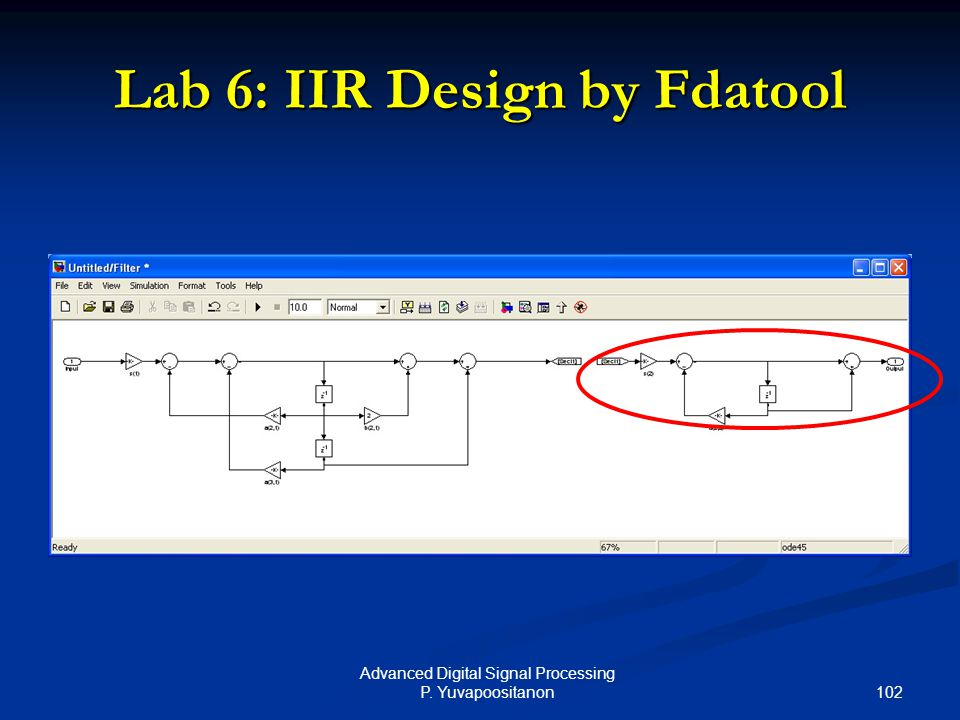 102 Advanced Digital Signal Processing P. Yuvapoositanon Lab 6: IIR Design by Fdatool