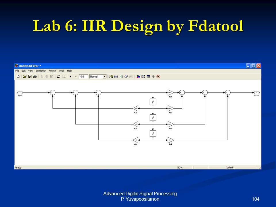 104 Advanced Digital Signal Processing P. Yuvapoositanon Lab 6: IIR Design by Fdatool