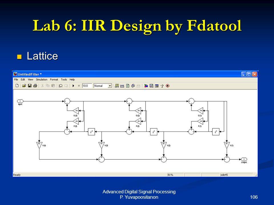 106 Advanced Digital Signal Processing P. Yuvapoositanon Lab 6: IIR Design by Fdatool Lattice Lattice
