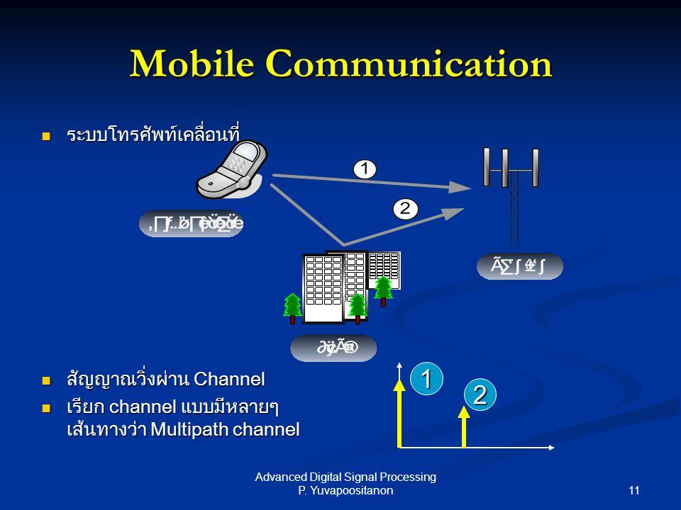 11 Advanced Digital Signal Processing P. Yuvapoositanon Mobile Communication ระบบโทรศัพท์เคลื่อนที่ ระบบโทรศัพท์เคลื่อนที่ สัญญาณวิ่งผ่าน Channel สัญญ