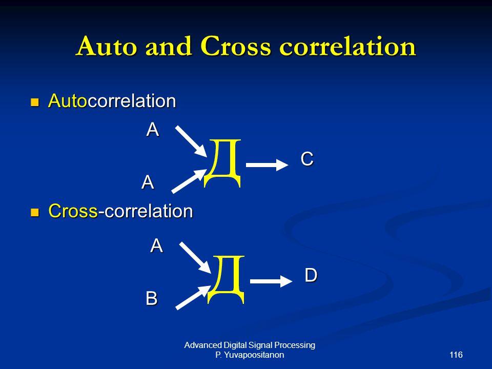 116 Advanced Digital Signal Processing P. Yuvapoositanon Auto and Cross correlation Autocorrelation Autocorrelation Cross-correlation Cross-correlatio