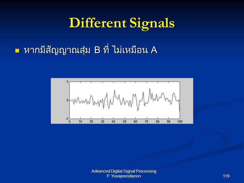 119 Advanced Digital Signal Processing P. Yuvapoositanon Different Signals หากมีสัญญาณสุ่ม B ที่ ไม่เหมือน A หากมีสัญญาณสุ่ม B ที่ ไม่เหมือน A