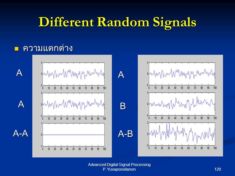 120 Advanced Digital Signal Processing P. Yuvapoositanon Different Random Signals ความแตกต่าง ความแตกต่าง A A A-A A B A-B