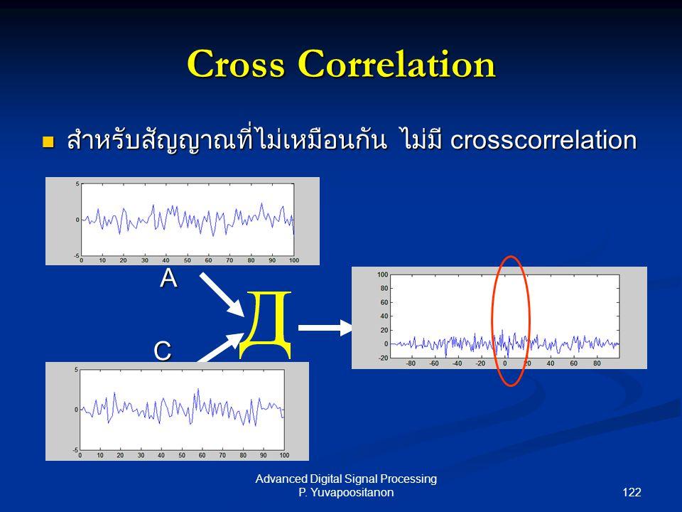 122 Advanced Digital Signal Processing P. Yuvapoositanon Cross Correlation สำหรับสัญญาณที่ไม่เหมือนกัน ไม่มี crosscorrelation สำหรับสัญญาณที่ไม่เหมือน