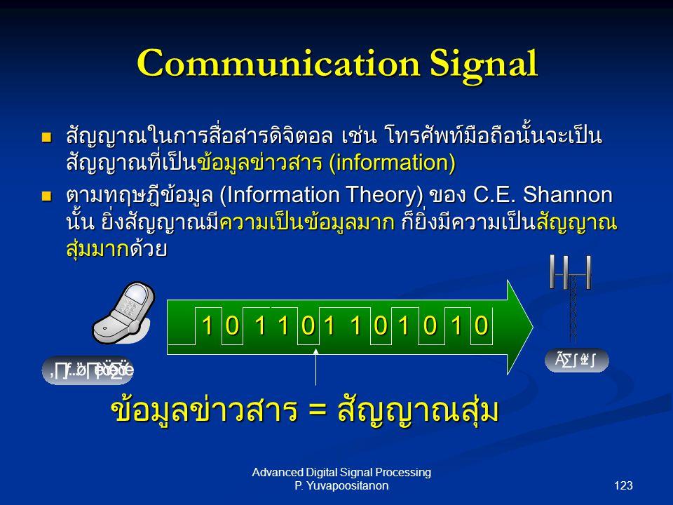 123 Advanced Digital Signal Processing P. Yuvapoositanon Communication Signal สัญญาณในการสื่อสารดิจิตอล เช่น โทรศัพท์มือถือนั้นจะเป็น สัญญาณที่เป็นข้อ