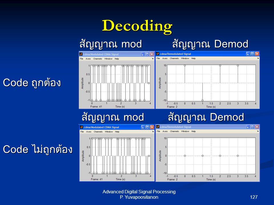 127 Advanced Digital Signal Processing P. Yuvapoositanon Decoding Code ถูกต้อง Code ไม่ถูกต้อง สัญญาณ mod สัญญาณ Demod