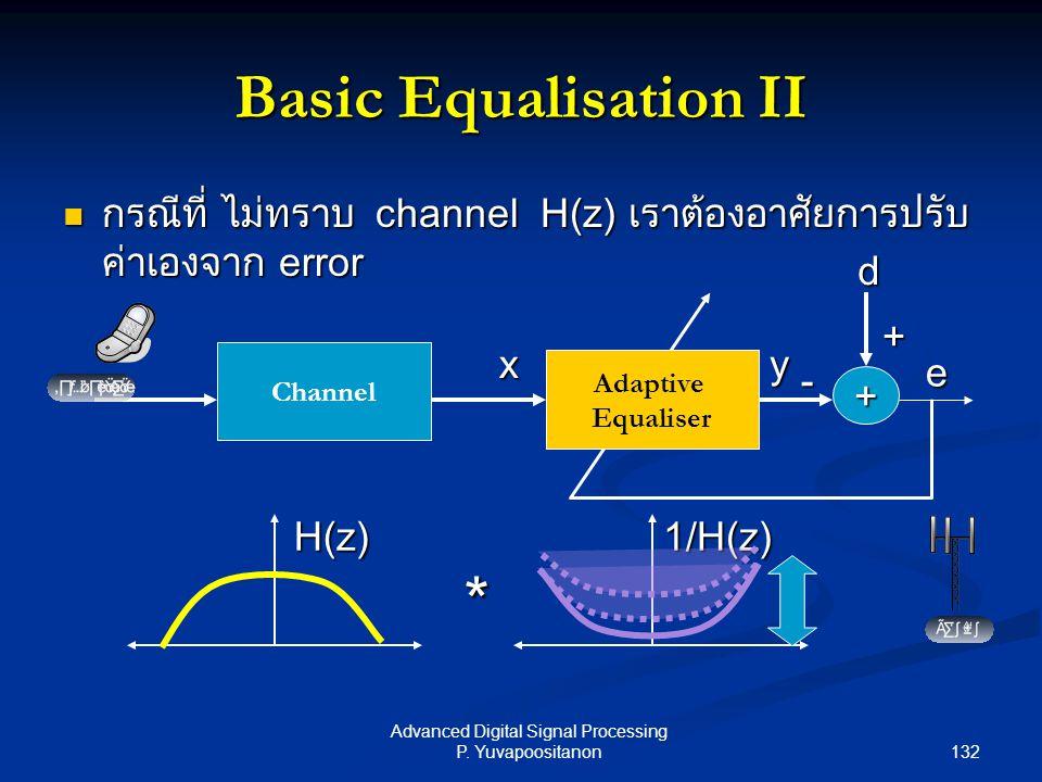 132 Advanced Digital Signal Processing P. Yuvapoositanon Basic Equalisation II กรณีที่ ไม่ทราบ channel H(z) เราต้องอาศัยการปรับ ค่าเองจาก error กรณีที