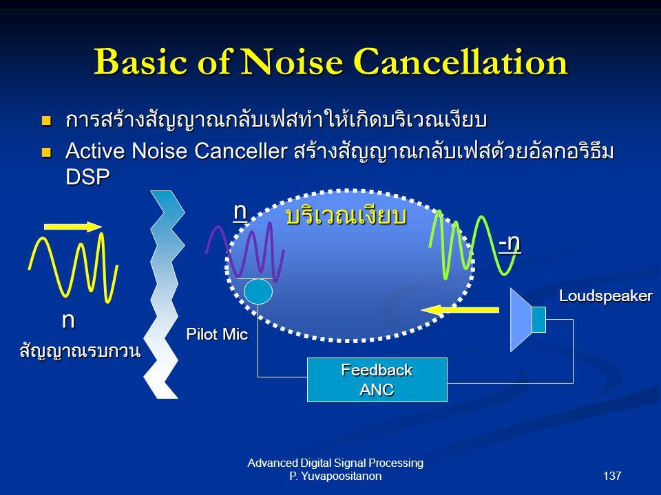 137 Advanced Digital Signal Processing P. Yuvapoositanon การสร้างสัญญาณกลับเฟสทำให้เกิดบริเวณเงียบ การสร้างสัญญาณกลับเฟสทำให้เกิดบริเวณเงียบ Active No