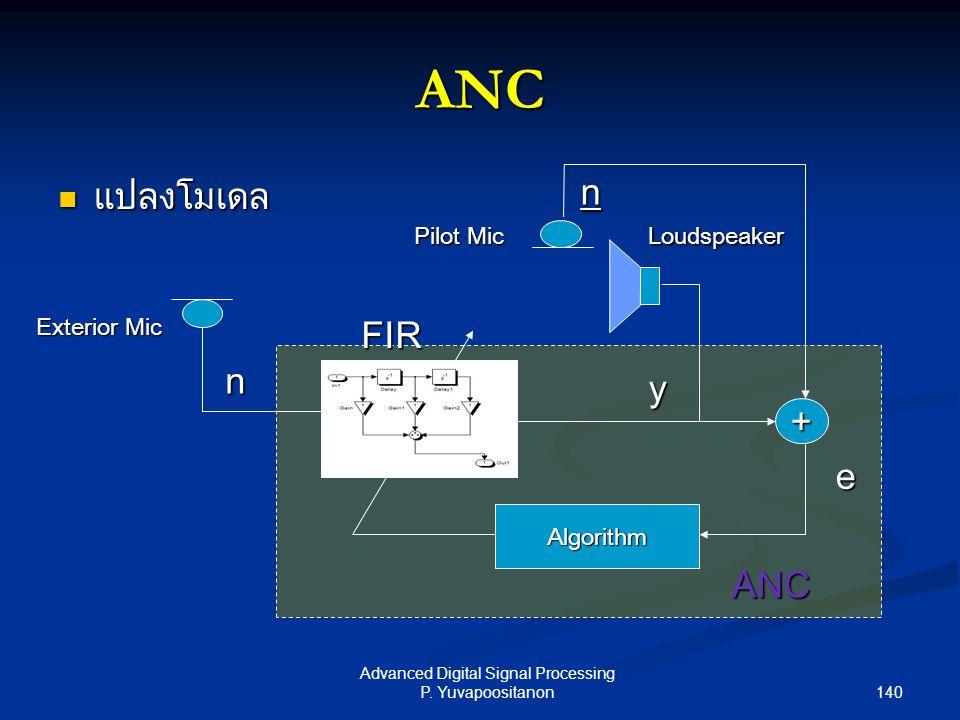 140 Advanced Digital Signal Processing P. Yuvapoositanon ANC แปลงโมเดล แปลงโมเดล Loudspeaker Algorithm + Exterior Mic e y n Pilot Mic n ANC FIR