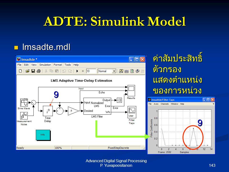 143 Advanced Digital Signal Processing P. Yuvapoositanon ADTE: Simulink Model lmsadte.mdl lmsadte.mdl ค่าสัมประสิทธิ์ ตัวกรอง แสดงตำแหน่ง ของการหน่วง