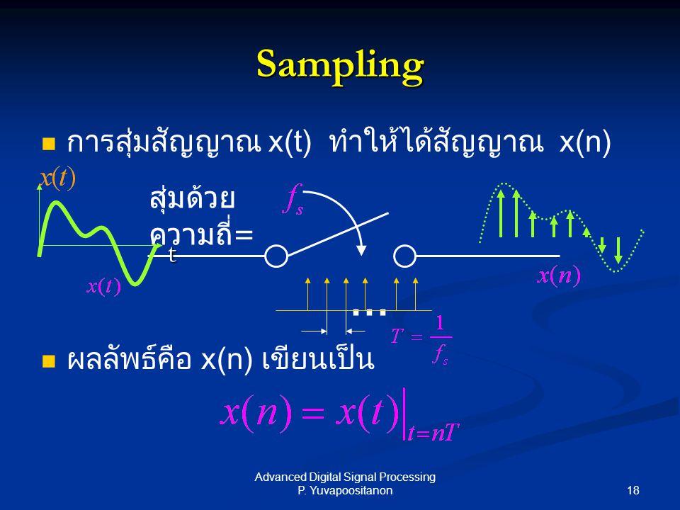 18 Advanced Digital Signal Processing P. Yuvapoositanon Sampling การสุ่มสัญญาณ x(t) ทำให้ได้สัญญาณ x(n) ผลลัพธ์คือ x(n) เขียนเป็น สุ่มด้วย ความถี่ =..