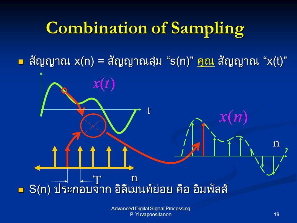 "19 Advanced Digital Signal Processing P. Yuvapoositanon สัญญาณ x(n) = สัญญาณสุ่ม ""s(n)"" คูณ สัญญาณ ""x(t)"" สัญญาณ x(n) = สัญญาณสุ่ม ""s(n)"" คูณ สัญญาณ """
