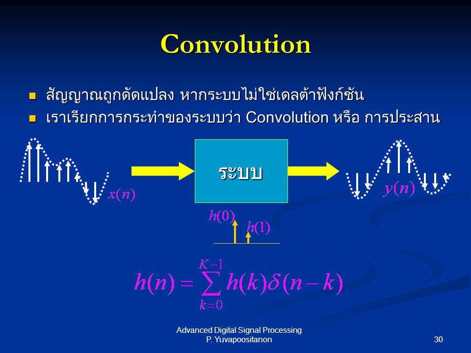 30 Advanced Digital Signal Processing P. Yuvapoositanon Convolution สัญญาณถูกดัดแปลง หากระบบไม่ใช่เดลต้าฟังก์ชัน สัญญาณถูกดัดแปลง หากระบบไม่ใช่เดลต้าฟ