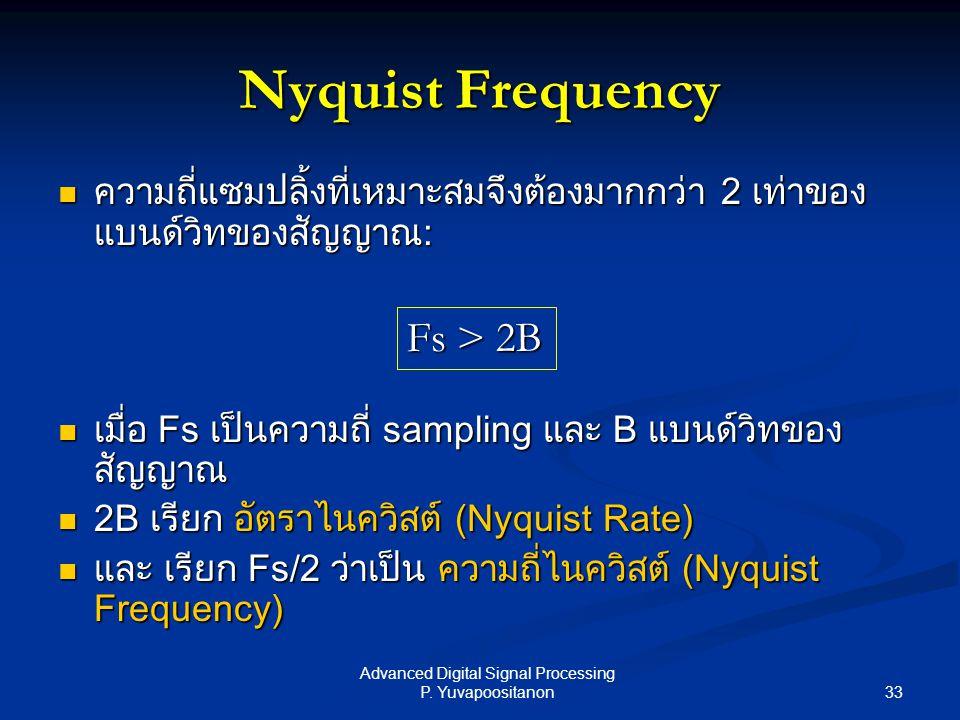33 Advanced Digital Signal Processing P. Yuvapoositanon Nyquist Frequency ความถี่แซมปลิ้งที่เหมาะสมจึงต้องมากกว่า 2 เท่าของ แบนด์วิทของสัญญาณ: ความถี่