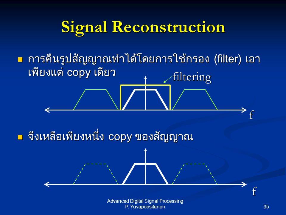 35 Advanced Digital Signal Processing P. Yuvapoositanon Signal Reconstruction การคืนรูปสัญญาณทำได้โดยการใช้กรอง (filter) เอา เพียงแต่ copy เดียว การคื