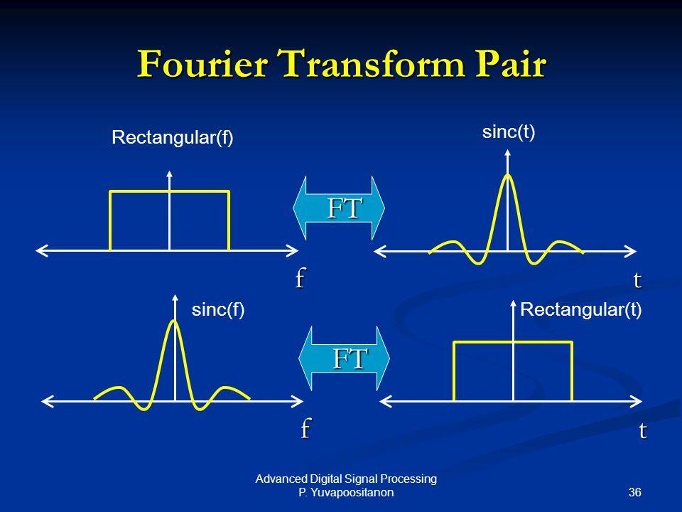36 Advanced Digital Signal Processing P. Yuvapoositanon Fourier Transform Pair f t FT f t FT Rectangular(f) sinc(t) sinc(f)Rectangular(t)