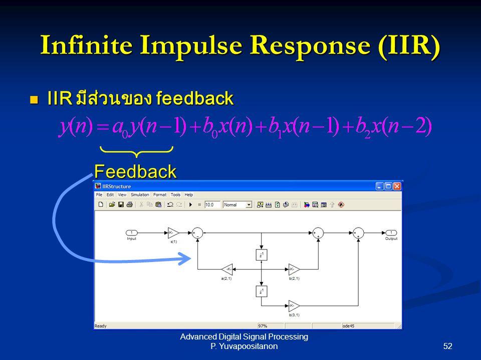 52 Advanced Digital Signal Processing P. Yuvapoositanon Infinite Impulse Response (IIR) IIR มีส่วนของ feedback IIR มีส่วนของ feedback Feedback