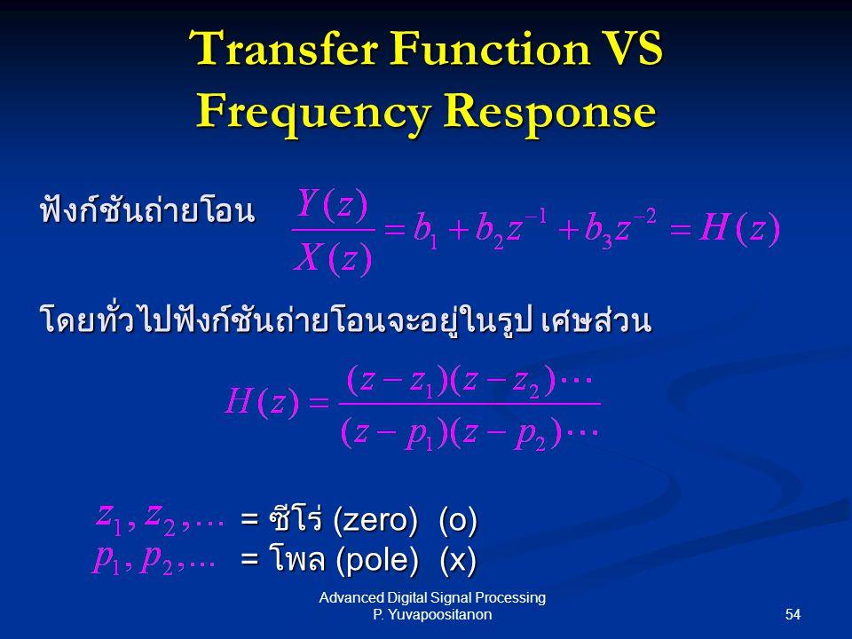 54 Advanced Digital Signal Processing P. Yuvapoositanon Transfer Function VS Frequency Response ฟังก์ชันถ่ายโอน โดยทั่วไปฟังก์ชันถ่ายโอนจะอยู่ในรูป เศ