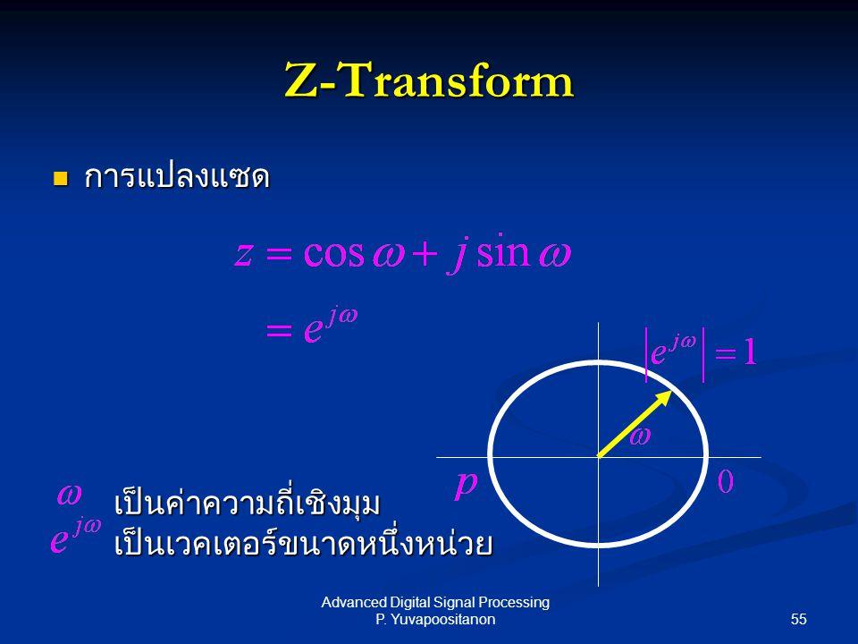 55 Advanced Digital Signal Processing P. Yuvapoositanon Z-Transform การแปลงแซด การแปลงแซด เป็นเวคเตอร์ขนาดหนึ่งหน่วย เป็นค่าความถี่เชิงมุม