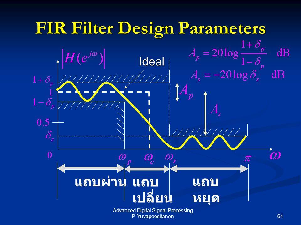 61 Advanced Digital Signal Processing P. Yuvapoositanon FIR Filter Design Parameters แถบผ่าน แถบ หยุด แถบ เปลี่ยน Ideal
