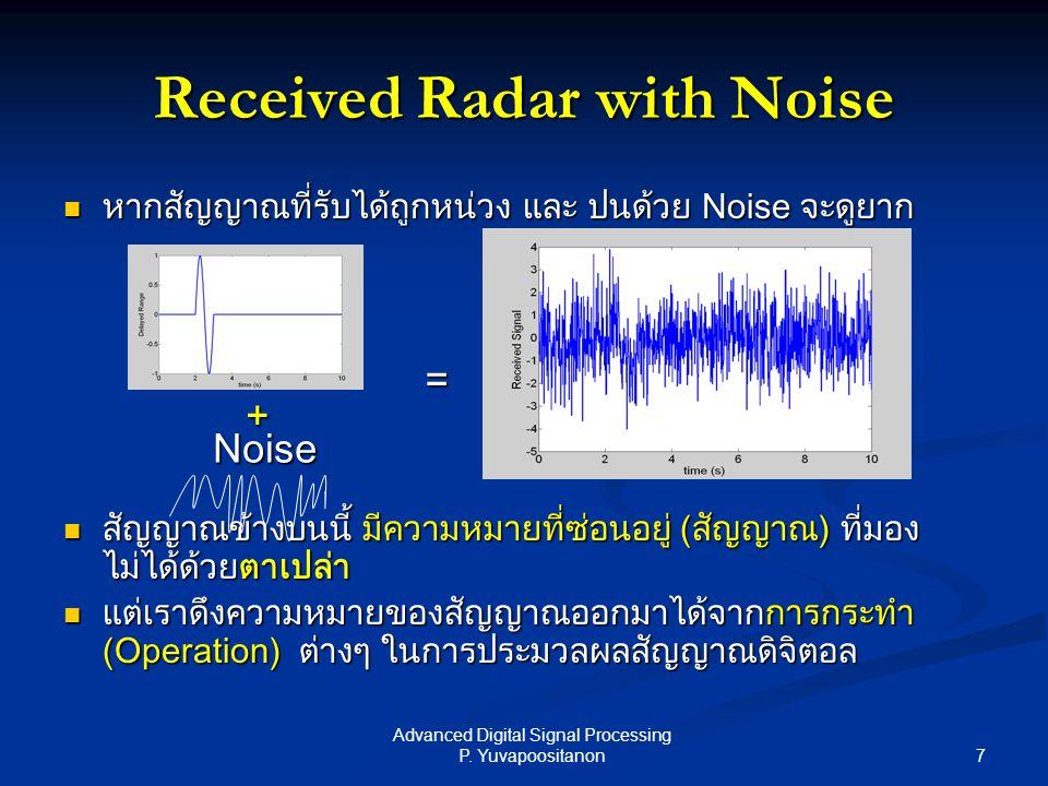 7 Advanced Digital Signal Processing P. Yuvapoositanon หากสัญญาณที่รับได้ถูกหน่วง และ ปนด้วย Noise จะดูยาก หากสัญญาณที่รับได้ถูกหน่วง และ ปนด้วย Noise