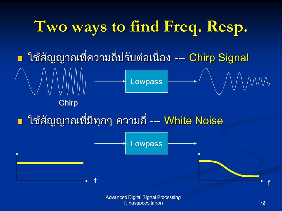 72 Advanced Digital Signal Processing P. Yuvapoositanon ใช้สัญญาณที่ความถี่ปรับต่อเนื่อง --- Chirp Signal ใช้สัญญาณที่ความถี่ปรับต่อเนื่อง --- Chirp S
