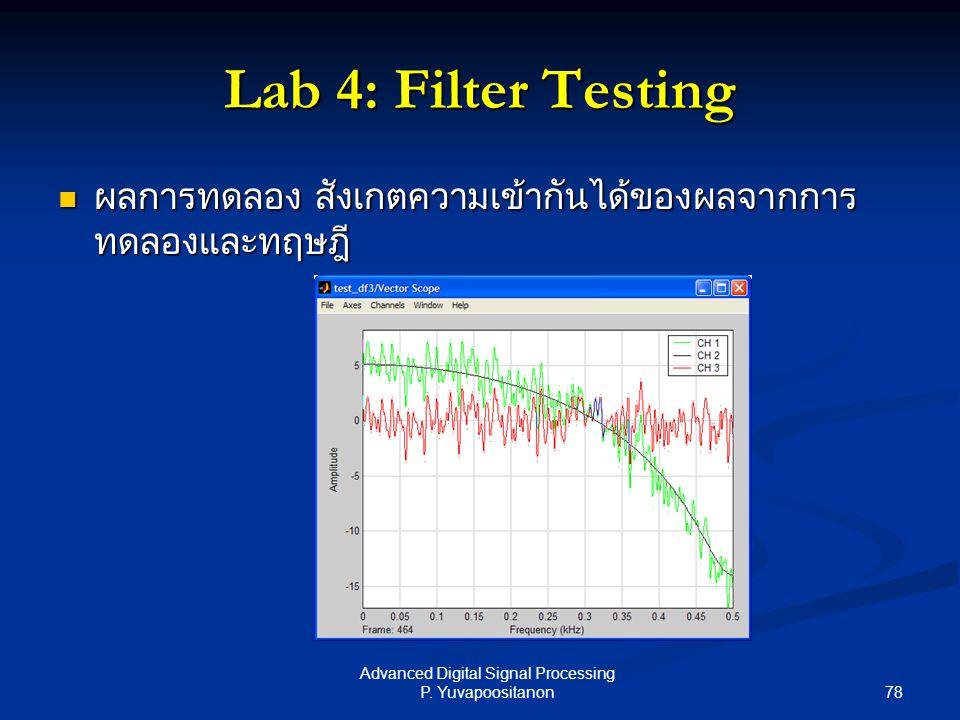 78 Advanced Digital Signal Processing P. Yuvapoositanon Lab 4: Filter Testing ผลการทดลอง สังเกตความเข้ากันได้ของผลจากการ ทดลองและทฤษฎี ผลการทดลอง สังเ