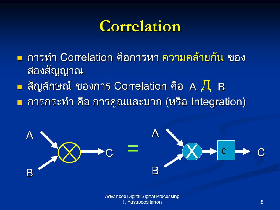8 Advanced Digital Signal Processing P. Yuvapoositanon Correlation การทำ Correlation คือการหา ความคล้ายกัน ของ สองสัญญาณ การทำ Correlation คือการหา คว