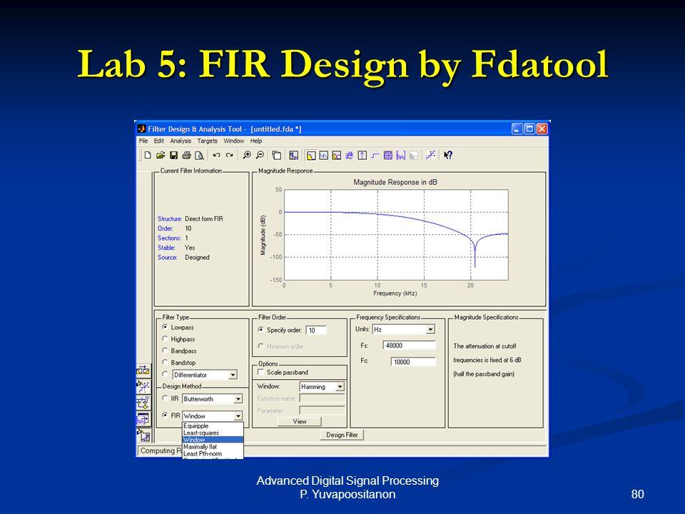 80 Advanced Digital Signal Processing P. Yuvapoositanon Lab 5: FIR Design by Fdatool