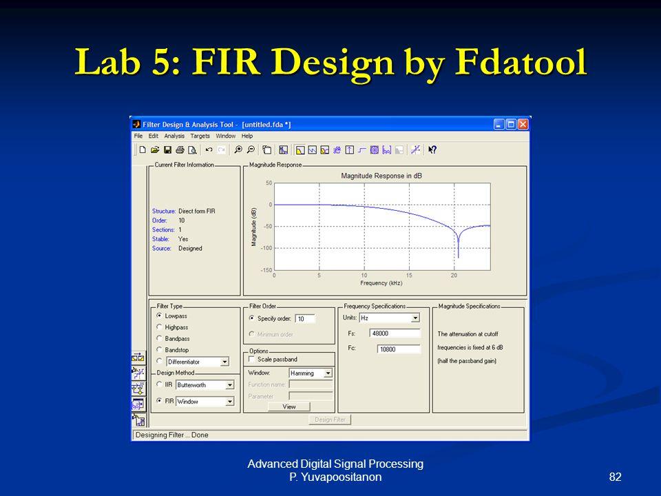 82 Advanced Digital Signal Processing P. Yuvapoositanon Lab 5: FIR Design by Fdatool