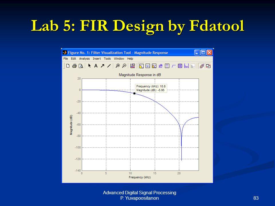 83 Advanced Digital Signal Processing P. Yuvapoositanon Lab 5: FIR Design by Fdatool