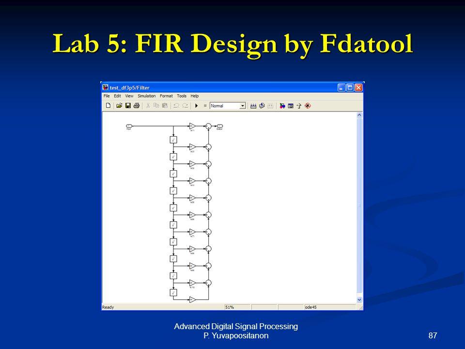 87 Advanced Digital Signal Processing P. Yuvapoositanon Lab 5: FIR Design by Fdatool