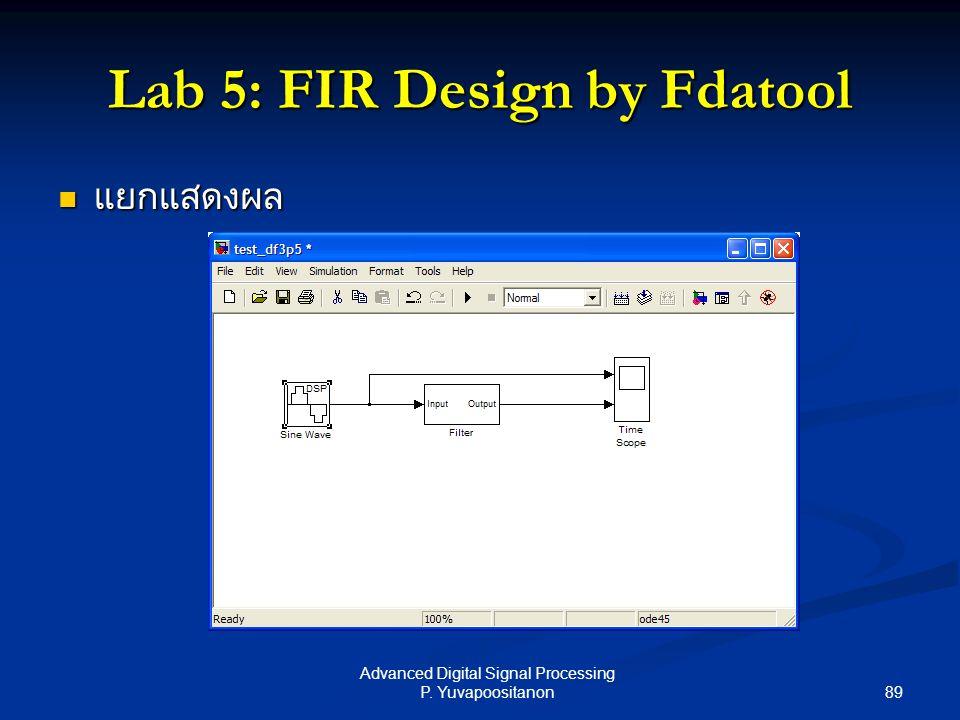 89 Advanced Digital Signal Processing P. Yuvapoositanon Lab 5: FIR Design by Fdatool แยกแสดงผล แยกแสดงผล