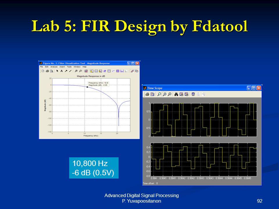 92 Advanced Digital Signal Processing P. Yuvapoositanon Lab 5: FIR Design by Fdatool 10,800 Hz -6 dB (0.5V)