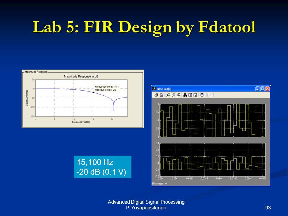 93 Advanced Digital Signal Processing P. Yuvapoositanon Lab 5: FIR Design by Fdatool 15,100 Hz -20 dB (0.1 V)