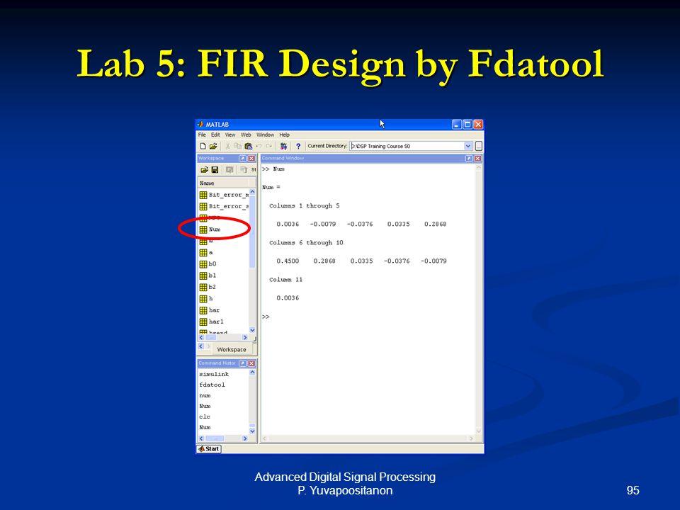 95 Advanced Digital Signal Processing P. Yuvapoositanon Lab 5: FIR Design by Fdatool