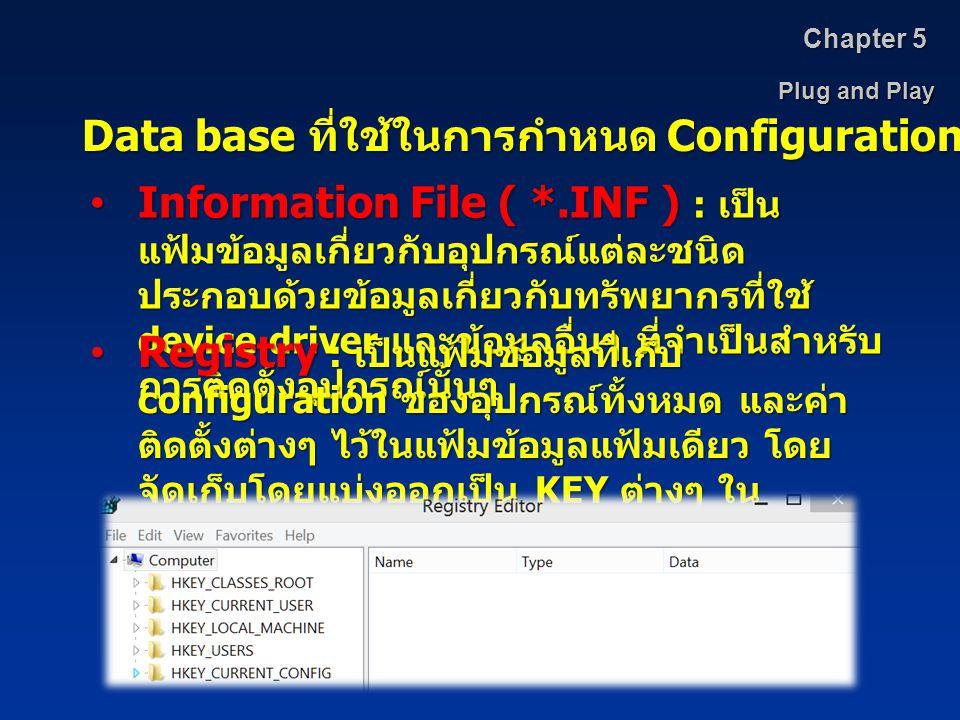 Plug and Play Chapter 5 Data base ที่ใช้ในการกำหนด Configuration Information File ( *.INF ) : เป็น แฟ้มข้อมูลเกี่ยวกับอุปกรณ์แต่ละชนิด ประกอบด้วยข้อมู