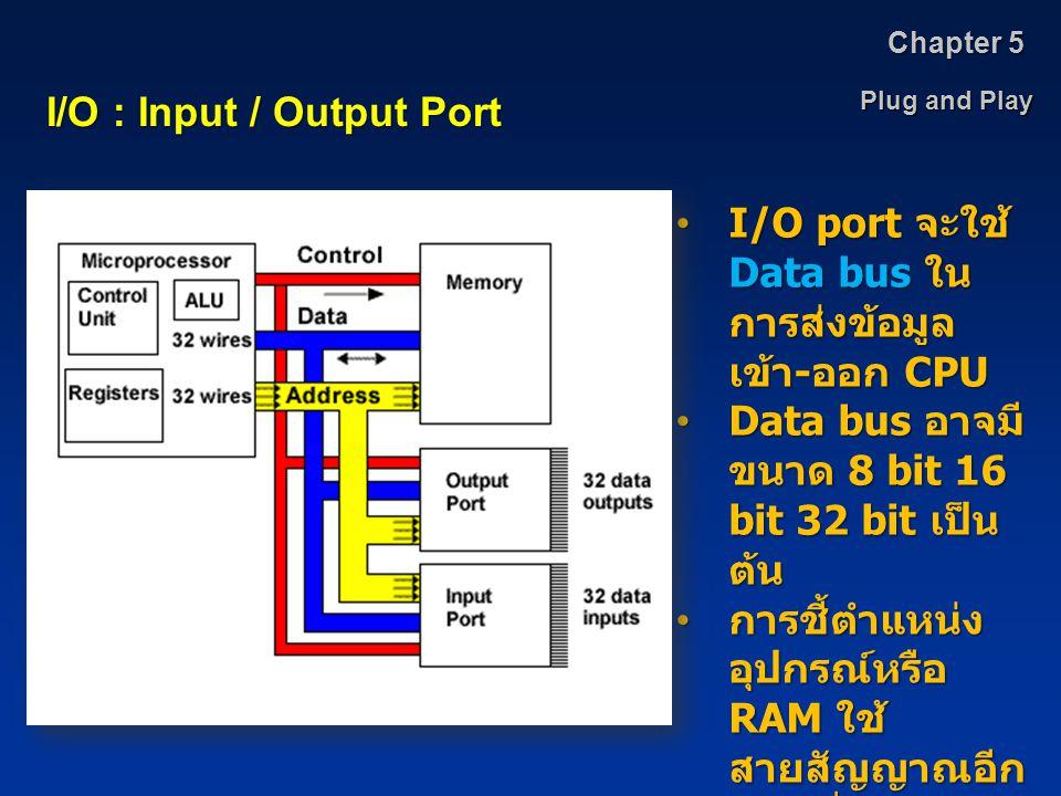 Plug and Play Chapter 5 I/O : Input / Output Port I/O port จะใช้ Data bus ใน การส่งข้อมูล เข้า - ออก CPUI/O port จะใช้ Data bus ใน การส่งข้อมูล เข้า -