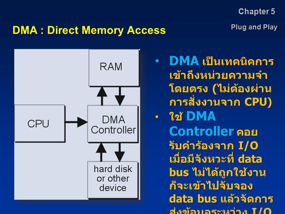 Plug and Play Chapter 5 DMA : Direct Memory Access DMA เป็นเทคนิคการ เข้าถึงหน่วยความจำ โดยตรง ( ไม่ต้องผ่าน การสั่งงานจาก CPU)DMA เป็นเทคนิคการ เข้าถ