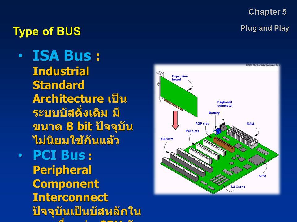 Plug and Play Chapter 5 Type of BUS ISA Bus : Industrial Standard Architecture เป็น ระบบบัสดั่งเดิม มี ขนาด 8 bit ปัจจุบัน ไม่นิยมใช้กันแล้วISA Bus :