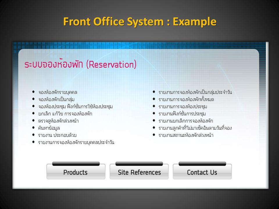 1. โปรแกรม Front Office System (Rhino Hotel Management System) ประกอบด้วย
