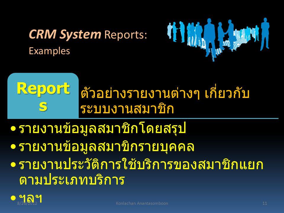 ตัวอย่างรายงานต่างๆ เกี่ยวกับ ระบบงานสมาชิก Report s รายงานข้อมูลสมาชิกโดยสรุป รายงานข้อมูลสมาขิกรายบุคคล รายงานประวัติการใช้บริการของสมาชิกแยก ตามประ