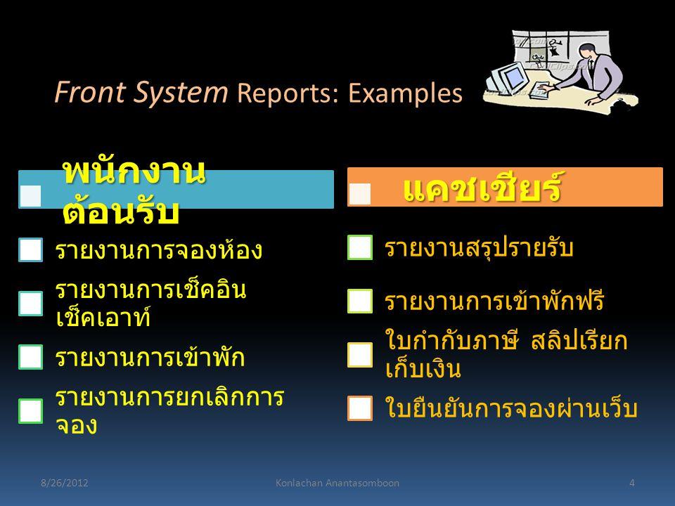 พนักงาน ต้อนรับ รายงานการจองห้อง รายงานการเช็คอิน เช็คเอาท์ รายงานการเข้าพัก รายงานการยกเลิกการ จอง แคชเชียร์ รายงานสรุปรายรับ รายงานการเข้าพักฟรี ใบก