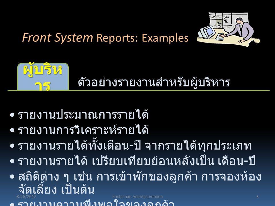 ตัวอย่างรายงานสำหรับผู้บริหาร ผู้บริห าร รายงานประมาณการรายได้ รายงานการวิเคราะห์รายได้ รายงานรายได้ทั้งเดือน - ปี จากรายได้ทุกประเภท รายงานรายได้ เปร
