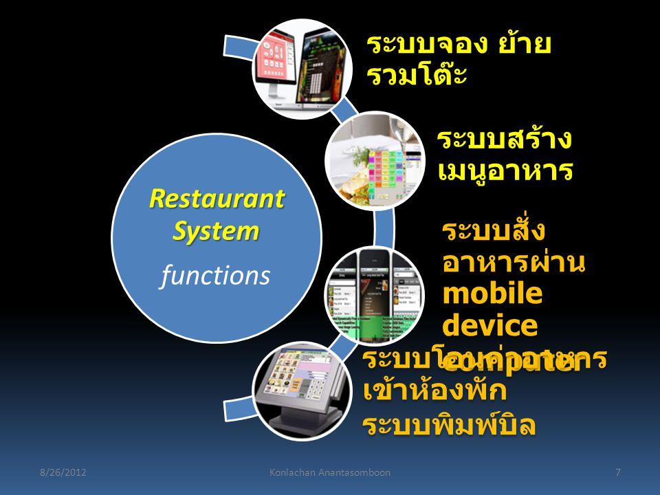 Restaurant System functions ระบบจอง ย้าย รวมโต๊ะ ระบบสร้าง เมนูอาหาร ระบบสั่ง อาหารผ่าน mobile device computer ระบบโอนค่าอาหาร เข้าห้องพัก ระบบพิมพ์บิ