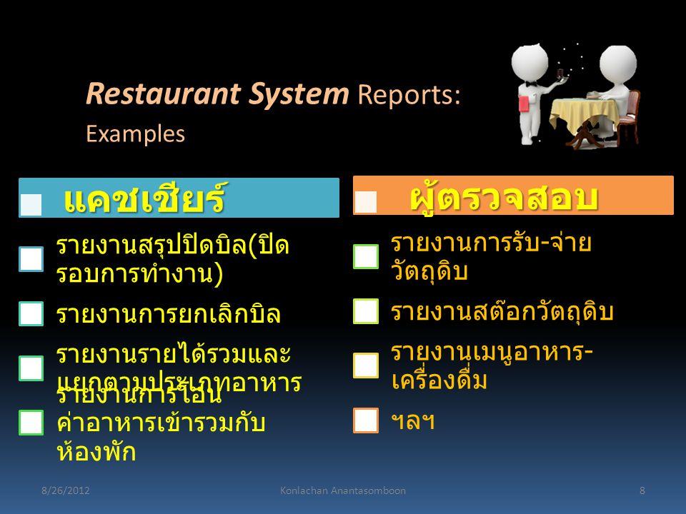 แคชเชียร์ รายงานสรุปปิดบิล ( ปิด รอบการทำงาน ) รายงานการยกเลิกบิล รายงานรายได้รวมและ แยกตามประเภทอาหาร รายงานการโอน ค่าอาหารเข้ารวมกับ ห้องพัก ผู้ตรวจ