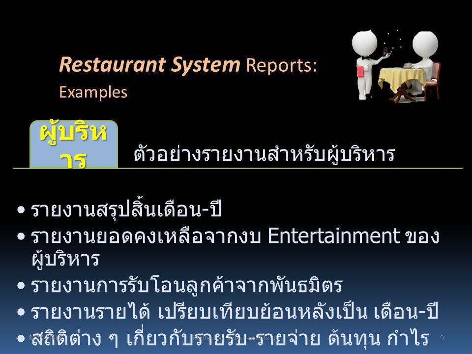 ตัวอย่างรายงานสำหรับผู้บริหาร ผู้บริห าร รายงานสรุปสิ้นเดือน - ปี รายงานยอดคงเหลือจากงบ Entertainment ของ ผู้บริหาร รายงานการรับโอนลูกค้าจากพันธมิตร ร