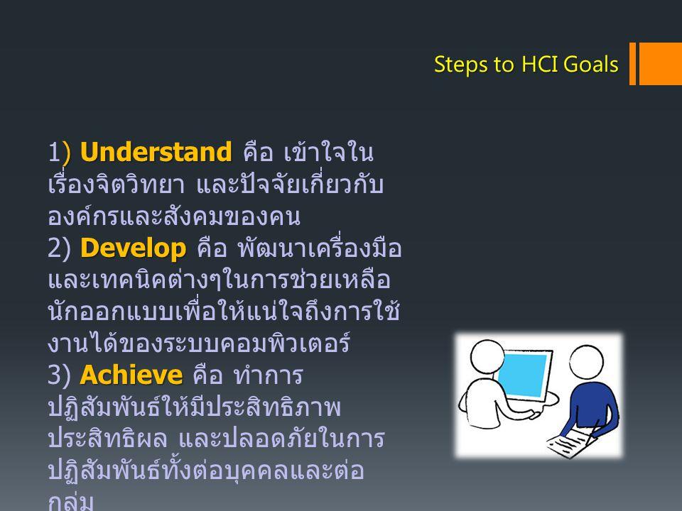 Steps to HCI Goals ) Understand 1) Understand คือ เข้าใจใน เรื่องจิตวิทยา และปัจจัยเกี่ยวกับ องค์กรและสังคมของคน Develop 2) Develop คือ พัฒนาเครื่องมื
