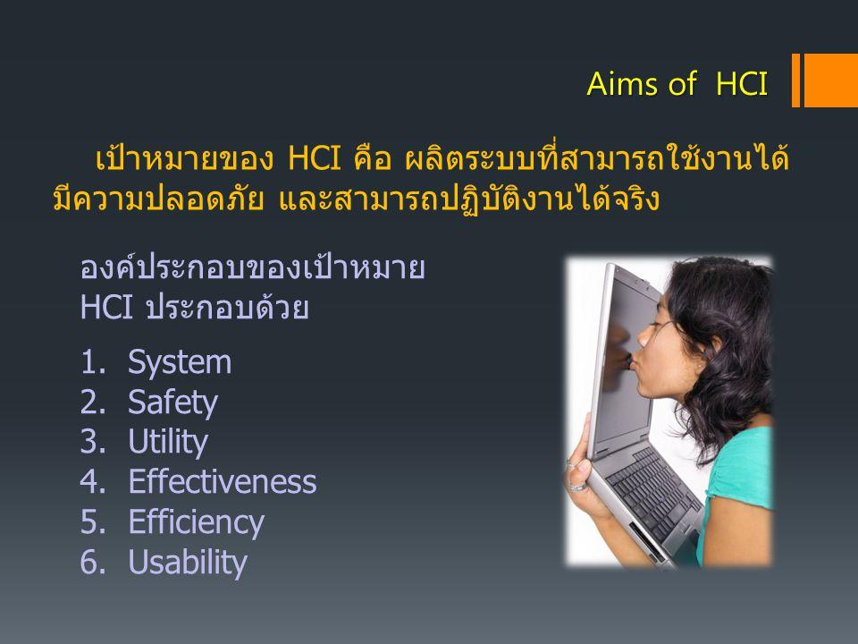 เป้าหมายของ HCI คือ ผลิตระบบที่สามารถใช้งานได้ มีความปลอดภัย และสามารถปฏิบัติงานได้จริง Aims of HCI องค์ประกอบของเป้าหมาย HCI ประกอบด้วย 1.System 2.Sa